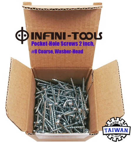 Pocket-Hole Screws 2 inch, #8 Coarse, Washer-Head, 250