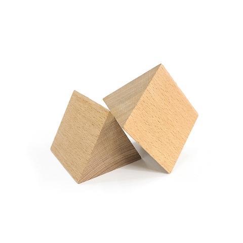 50*50*50mm Plain Wood Triangular Prism Blocks
