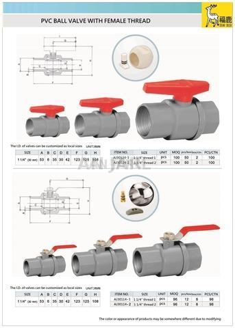 PVC ball valve with female thread ABS or ST handle