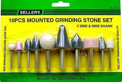 10 pc mounted grinding stone set, 3mm & 6mm shank 38-