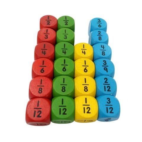25mm round mathematics fraction wooden dice