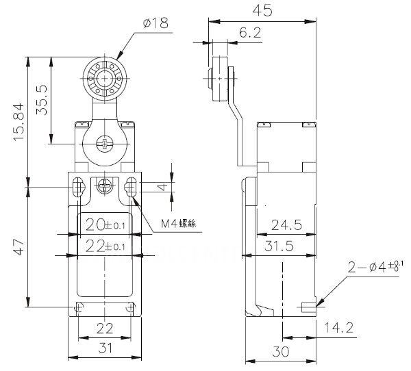小型立式限動開關TZ-9404