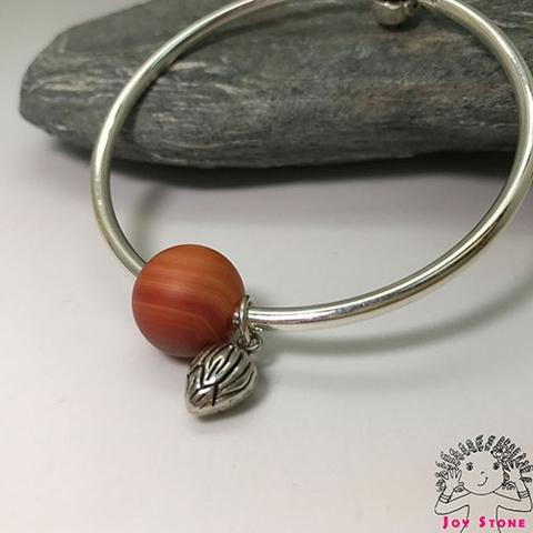 Silver Striped Red Agate Bracelet Heart Silver Bead Charm