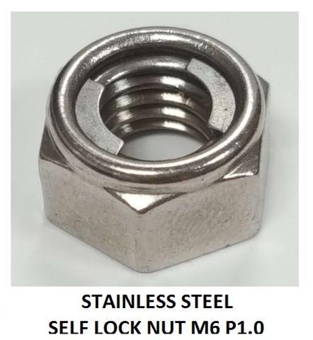 ALL METAL STAINLESS STEEL SELF LOCK NUT M6 P1.0