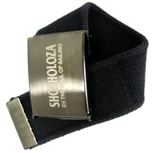 Black polyester webbing belt with steel buckle