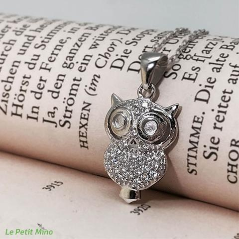 925 Silver Necklace Doe-eyed Owl Zircon Pendant