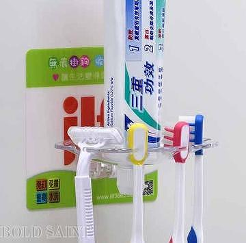 Eco-friendly damage-free self-stick toothbrush stand