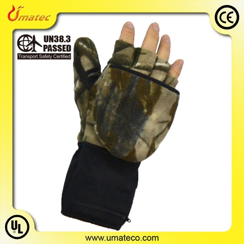 7.4V heated fingerless Mittens with double heaters, hunting gloves_1