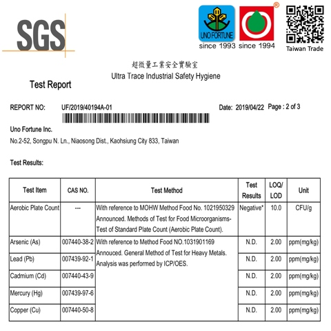 SGS heavy mental and microorganism test report