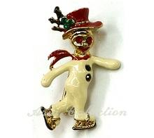 Christmas Snowman Brooch  Enamel Pin Xmas Jewelry