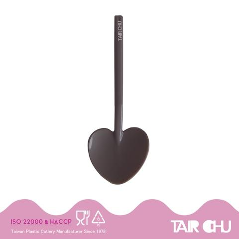 9cm PS Chocolate Brown Disposable Plastic Heart Shaped Spoon/ Ice Cream Spoon/ Dessert Spoon Made by Taiwan Factory