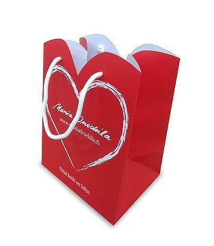 Coated paper bag, matte lamination, cotton handle, spot color print, die cut