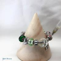 Green Diffuser Chain Bracelet Paris Style Art Glass Beads 925 Silver Charms
