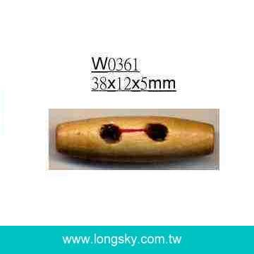 (#W0361) 38mm long barrel wooden toggle button, pparel  accessories other garment accessories,