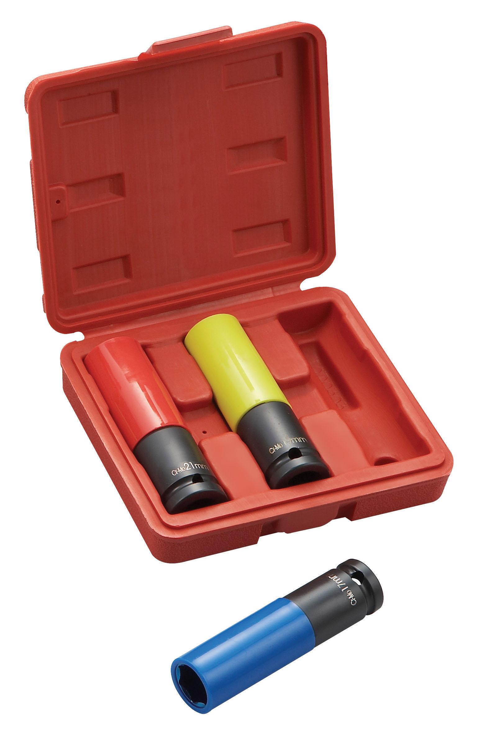 "3Pcs Alloy Wheel Nut Thin Wall DEEP Impact Socket Set 1//2/""drive 17//19//21 mm"