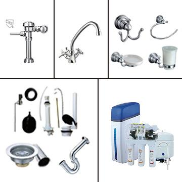 Brass Faucets, Flush Valves, Plumbing Fittings, Strainers, P Traps, Water Tank Kits, Bathroom Accessories, RO System, Water Filters, Softener Valves.