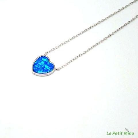 Love Heart Silver Sideways Silver Necklace