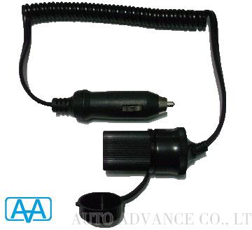 12V car cigarette plug coiled extension cord