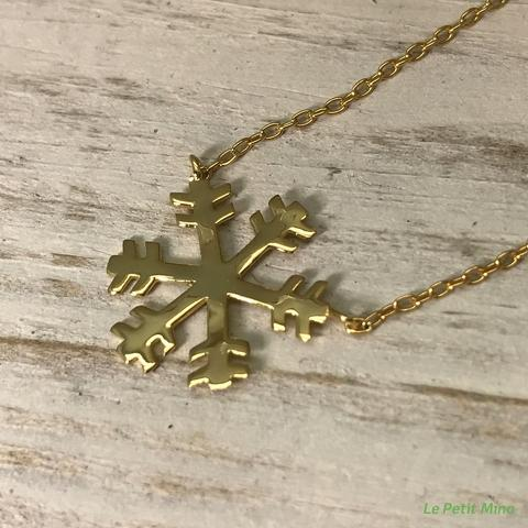 Silver Necklace Snowflake Pendant Gold Clad