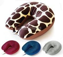 Custom OEM U-shape neck pillow with button stuffing cotton