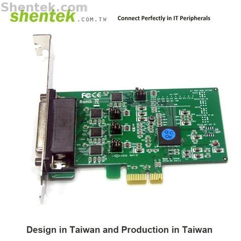 Shentek 4 Port RS485 RS232 RS422 Serial PCIe Card