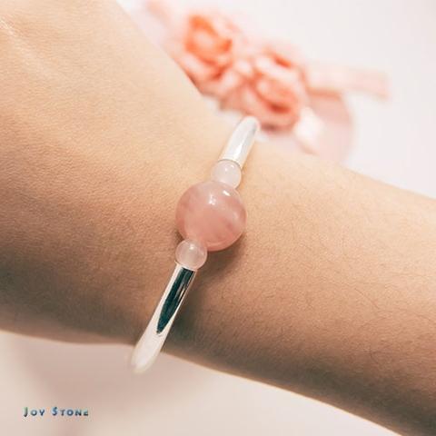 In Love Bracelet Rose Quartz Silver Tube Precious Stones
