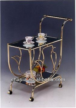 Metal Brass Serving Cart