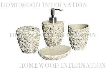 Bath Accessories Ceramic Bathroom Set Imitation Stone Effect Wavy Texture Soap Dispenser Tumbler Toothbrush Holder Dish Beige