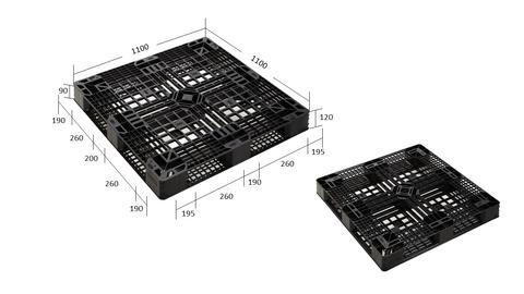 Stackable Euro Plastic Export Pallets (Black)