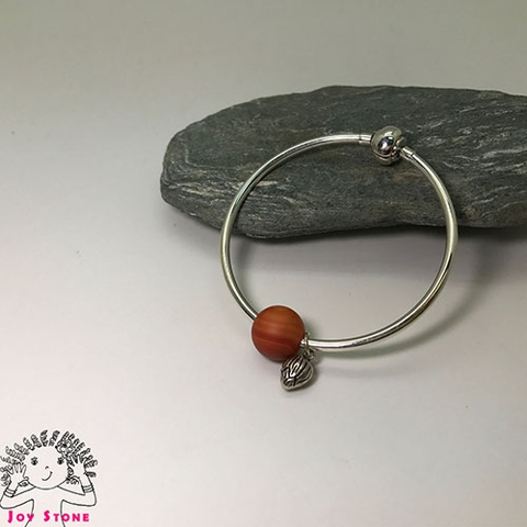 Striped Agate Bangle Love Heart Silver Charm