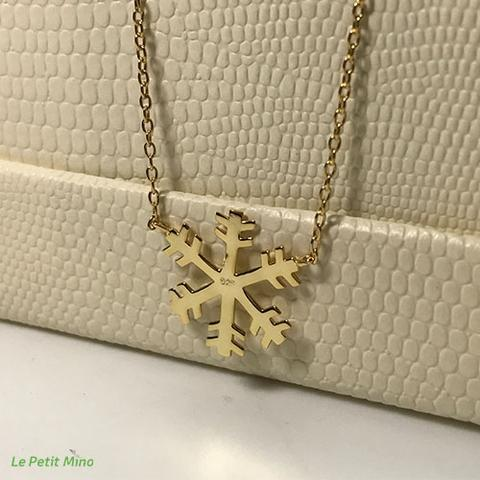 Snowflake Pendant 925 Silver Necklace Gold Clad