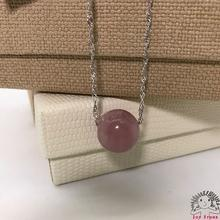 925 Silver Rose Quartz-14mm Bead Pendant Necklace Ladies Accessories-Gift Box