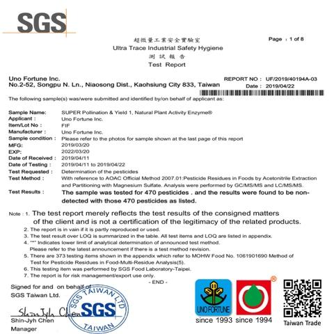 SUPER P&Y1 SGS 470 pesticides test report