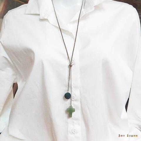 Aventurine Natural Stone Cross Diffuser Necklace