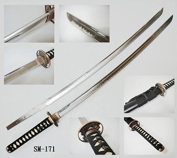 Taiwan Samurai Sword With Black Wood Scabbard Indicia