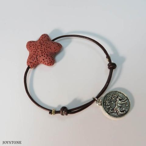 Aries Zodiac Sign Star Aroma Rock Leather Bracelet