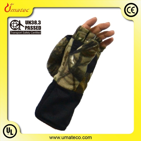 7.4V heated fingerless Mittens with double heaters, hunting gloves_2