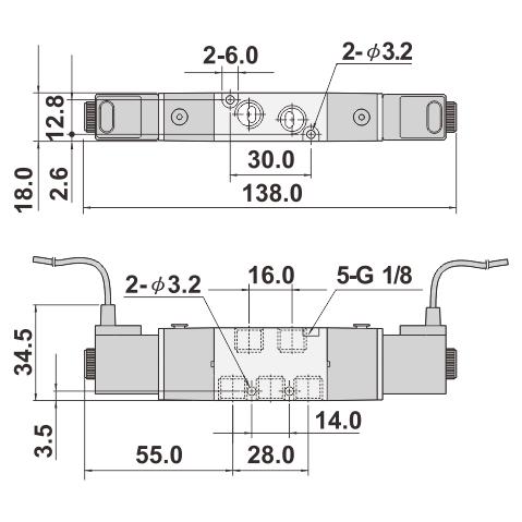 Taiwan 5/2, 5/3 WAY PILOT SOLENOID VALVE 18mm width 1/8
