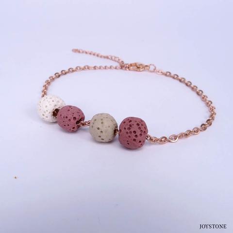 Quadruple-Bead 3 Color Pink Aroma Rock Diffuser Bracelet