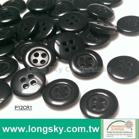 (#P12CR1) 18L 4 hole black polo shirt button