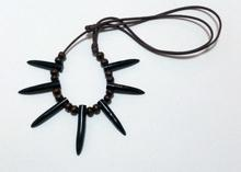 Black coral necklace with movable cord