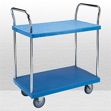 Two tiers platic platform hand trolley, capacity 120 kgs to 250 kgs