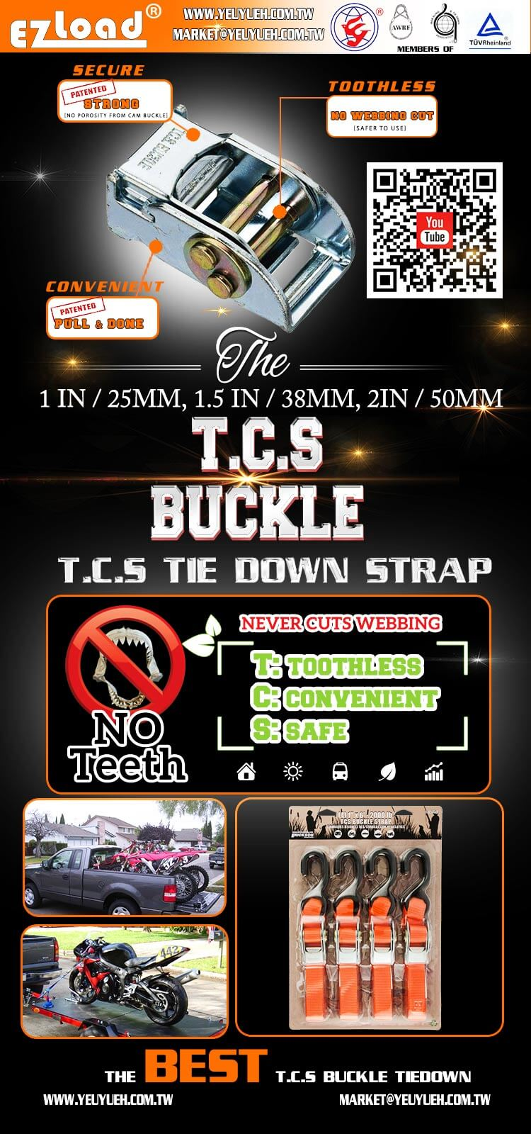 [EZ LOAD] 38mm 900KGS TCS Cam Buckle with Polyester Woven Strap