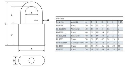 Brass Padlock structural drawing