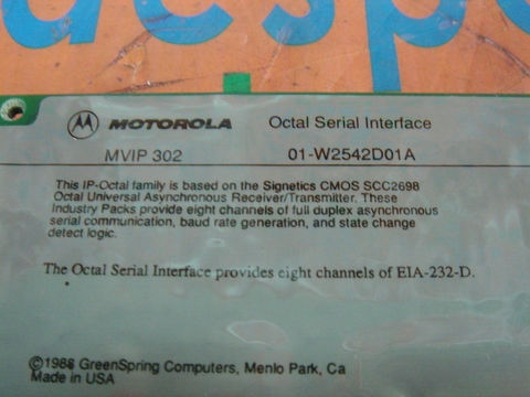 MOTOROLA OCTAL SERIAL INTERFACE MVIP302 / 01-W2542D01A