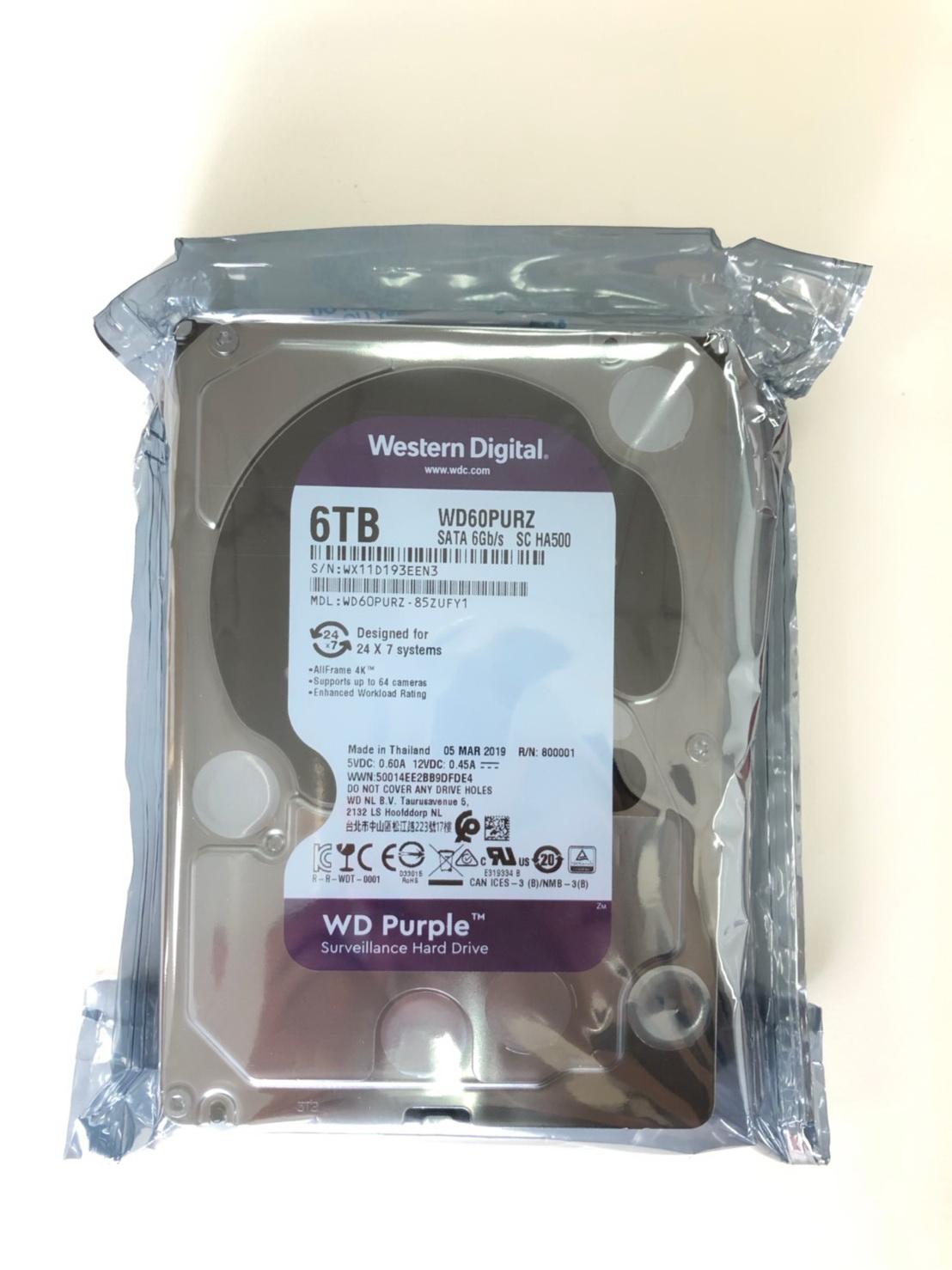 Taiwan WD 6TB Surveillance Hard Drive(WD82PURZ)- 5400 RPM