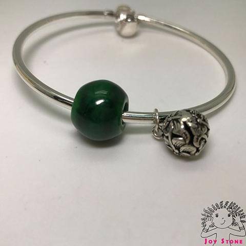 925 Burma Jade 13.8mm Bead and Silver Charm Bracelet