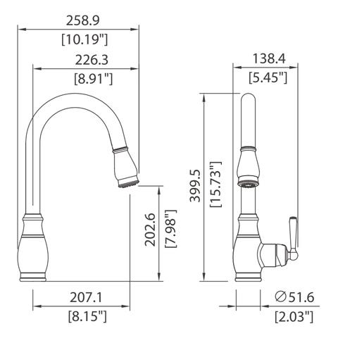 Single control kitchen pull-down faucet