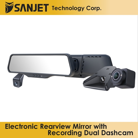 Electronic Rearview Mirror with Recording Dual Dashcam