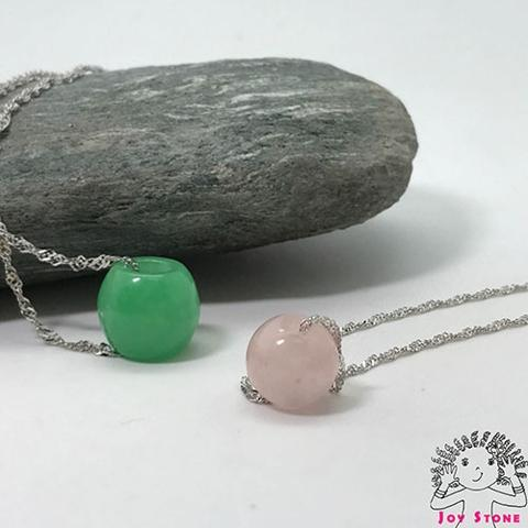Silver Morganite Pink Bead Pendant Necklace
